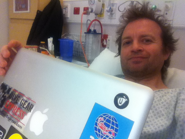 Gareth editing the post production update from his hospital bed